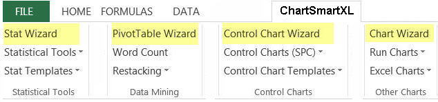 ChartSmartXL wizards with built in selection rules