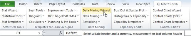 Data Mining Wizard Menu - ChartSmartXL